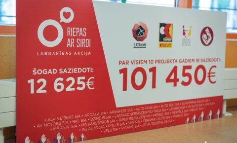 «Riepas ar sirdi»: за 10 лет Детской клинической университетской больнице пожертвовано более 100 000 евро
