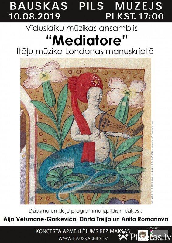 """14. gadsimta itāļu komponistu skaņdarbi viduslaiku mūzikas ansambļa """"Mediatore"""" izpildījumā."""