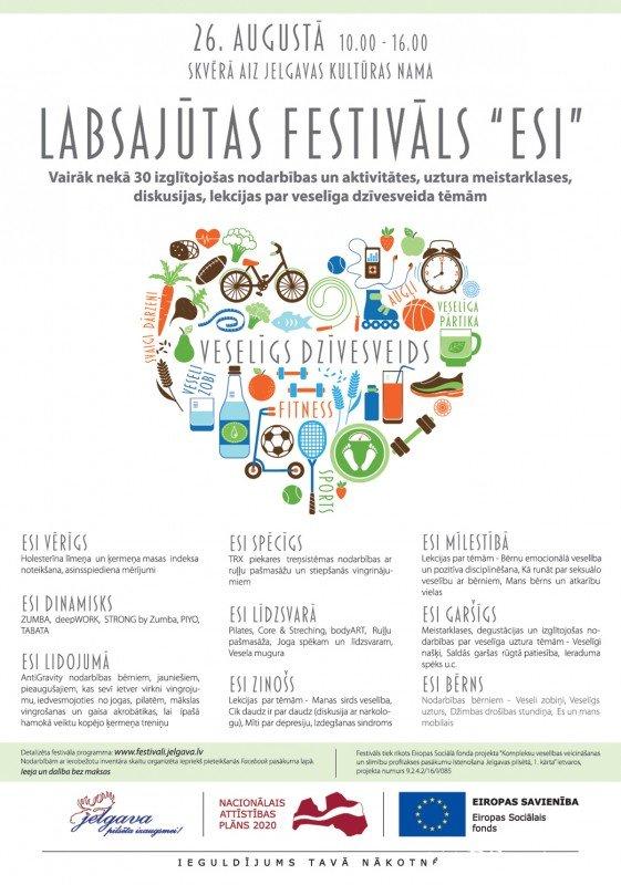 """Pirmo reizi Jelgavā norisināsies Labsajūtas festivāls """"ESI"""""""